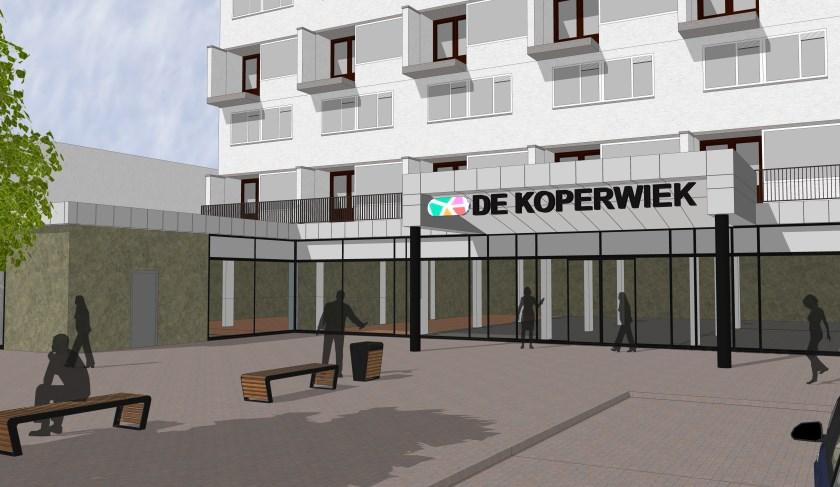 Aanzicht nieuwe entree winkelcentrum De Koperwiek.