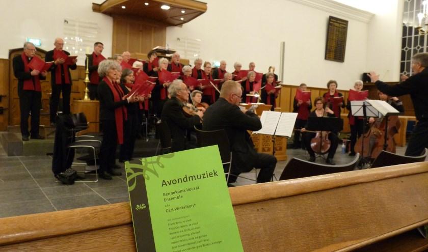 Avondmuziek van het Bennekoms Vocaal Ensemble. (foto:A.W. Vos)