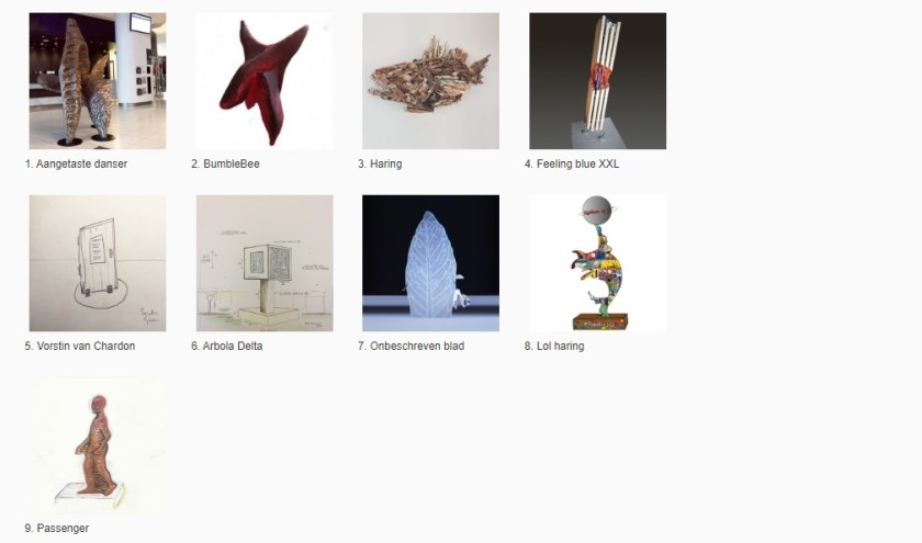 De Vlaardingse kunstwerken waar op gestemd kan worden.