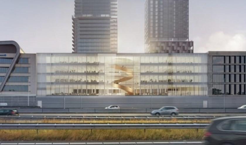 Het nieuwe kantoorgebouw Helix maakt straks onderdeel uit van het centrumgebied van Leidsche Rijn. Foto: PR