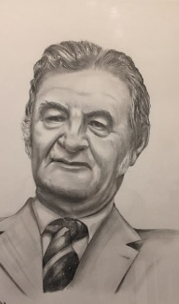 De Veenendaalse schrijver Rik Valkenburg (1923-1994) naar een tekening van Linda van de Weerd.