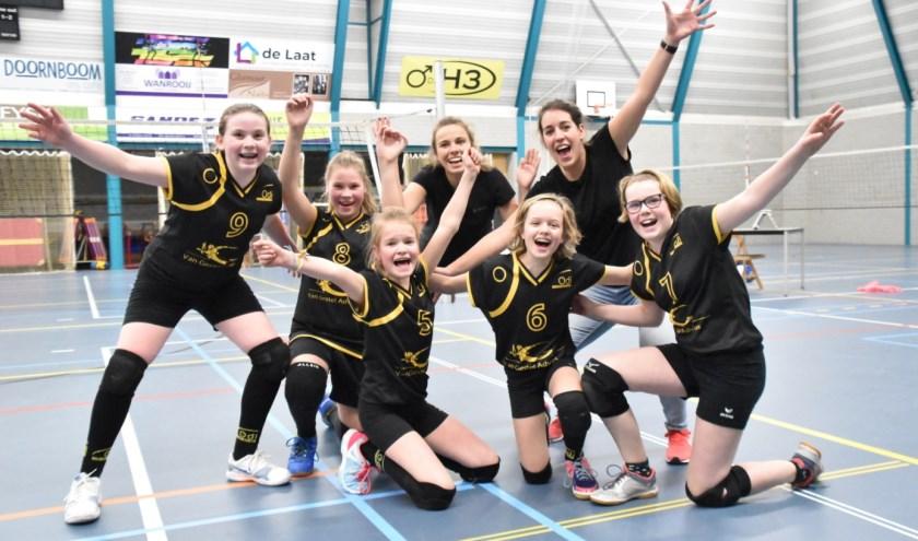 9 Nina van Loon, 8 Lenne Reijrink, 5 Juul Loonen, 6 Maud v.d. Heijden, 7 Femke Neggers en de coaches Roos Deenen en Marloes van Dommelen.