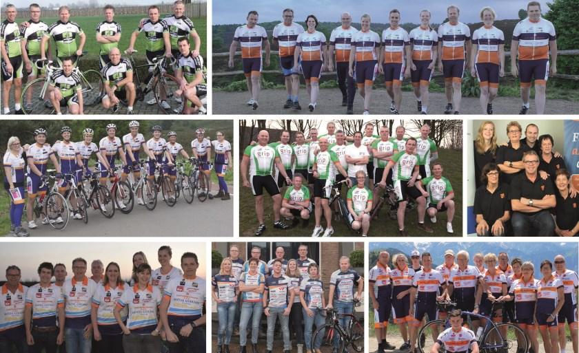 Collage van de teams 2012 t/m 2019.