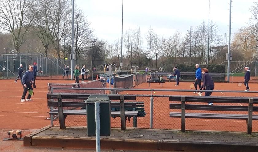 Een druk bezet tennispark.