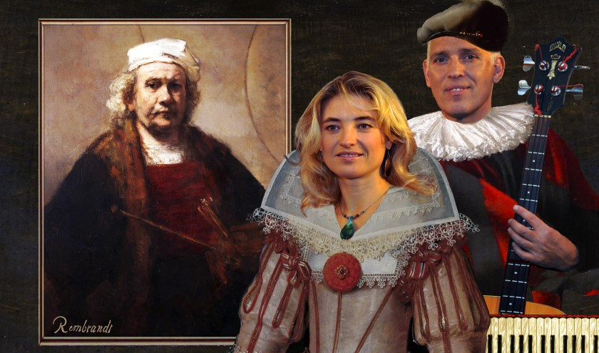 Irena Filippova en Hans Visser laten zich fotograferen in kleding uit Rembrandts tijd.
