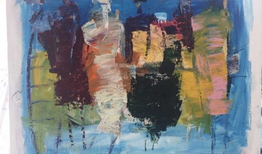 Schilderij van Adjan Broeders dat te zien is in Perron 15.
