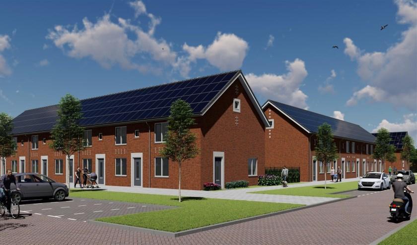 Een artist impression van hoe de woningen aan de Idenburglaan in Rijswijk Te Werve  er straks  uit gaan zien.