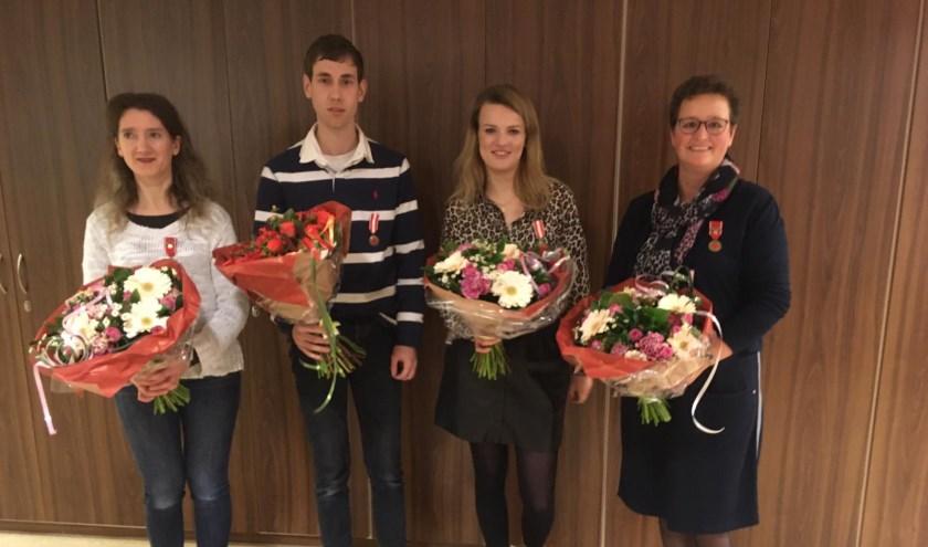 V.l.n.r.: Jolanda van Gelder-van den Brink, Corné van Voorst, Jalissa Beishuizen en Anneke Dooren.