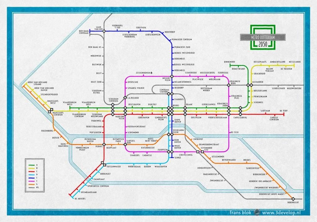 Zo ziet de kaart van Frans Blok eruit. Geïnspireerd op het Londense model en met flink wat nieuwe metrolijnen en - stations.  © DPG Media