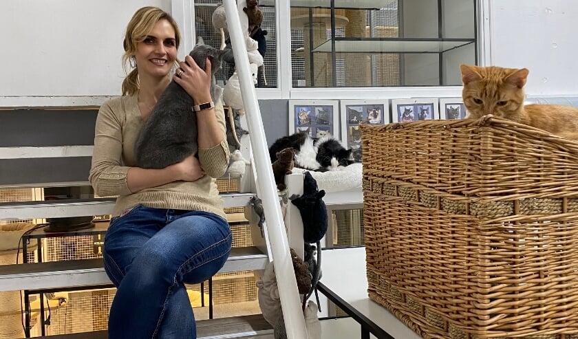 """<p>Vrijwilliger Daisy kent alle harige gasten bij hun naam. """"Ik ben wel een kattenfreak. Dus voor mij is het hier ook een soort walhalla!""""</p>"""