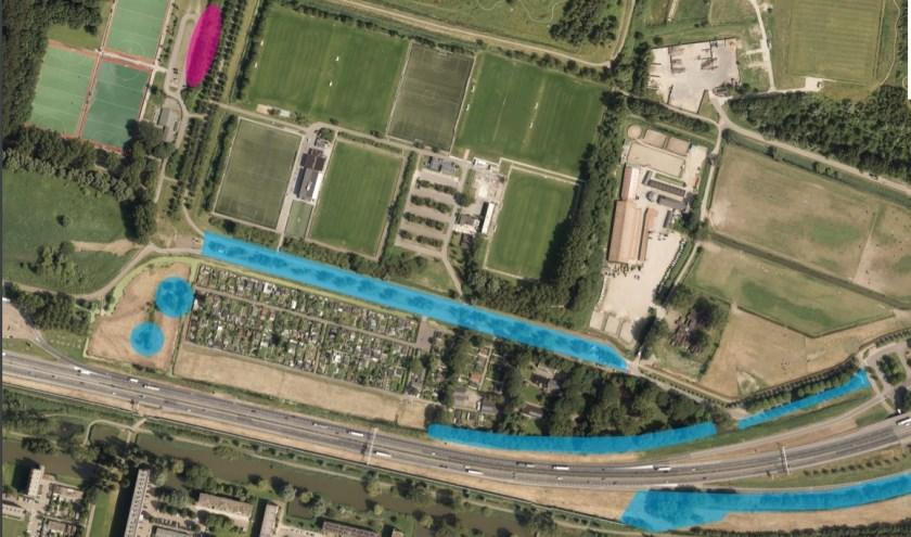 Locaties werkzaamheden t.b.v. verbreding A20 bij Vlaardingen. Blauw zijn bomen, roze is bosschage (struiken).