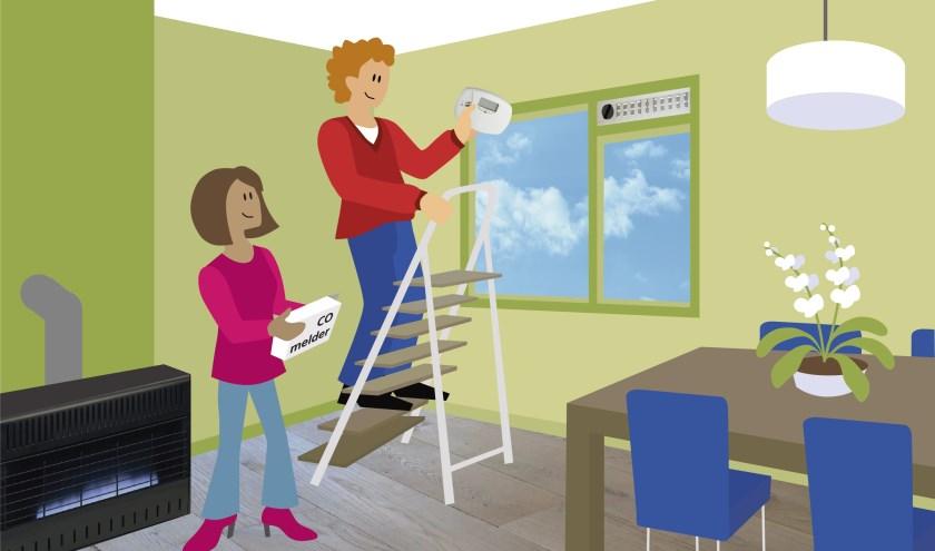 Een CO-melder kan uw leven redden. Hang hem op ademhoogte of, in de kamer met de  verwarmingsinstallatie, aan het plafond.