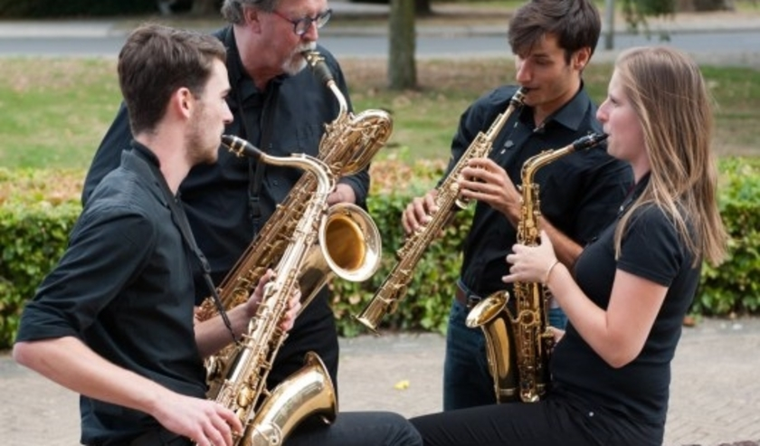 Het saxofoonkwartet 'Four Saxy Reeds'.