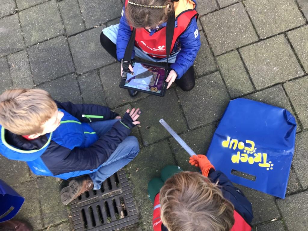 Kinderen van KindeRdam BSO de Pierewaaier verzamelen zwerfafval met de Troep-Coup game Foto: Eveline van Tillo © DPG Media