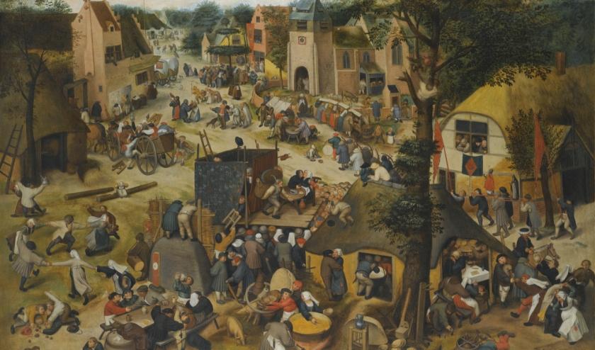 Een schilderij van Pieter Beughel de Jongere, met daarop het middeleeuws dorpsleven.