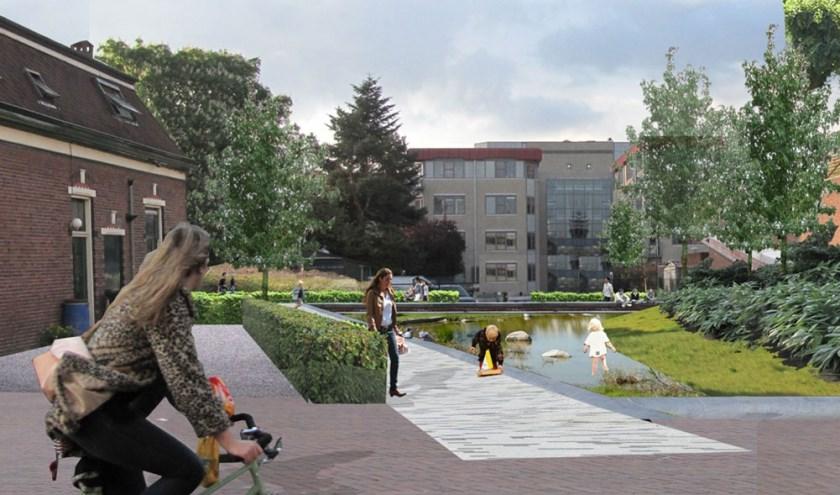 Op dit terrein komt een nieuw parkje: een groene plek met ruimte voor water, natuur, spelen en ontspanning. (bron gemeente Apeldoorn)