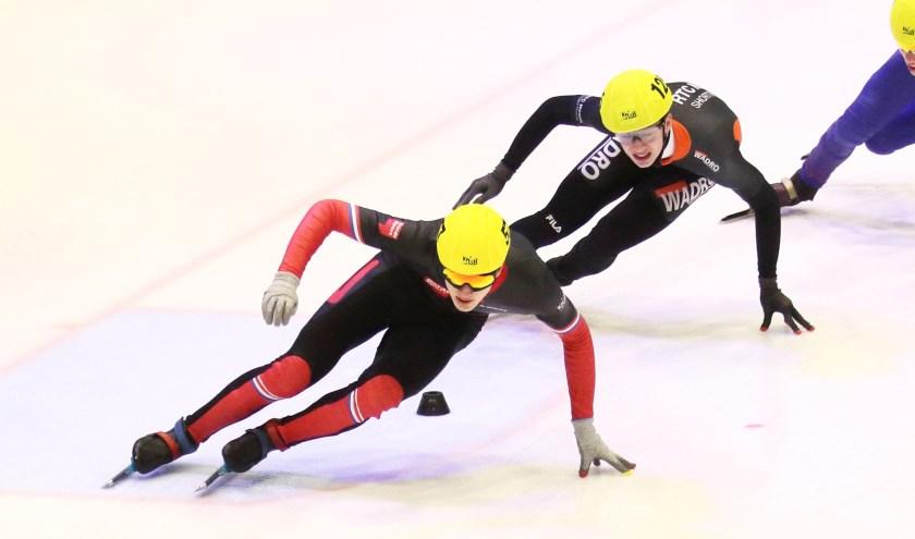 Teun Boer van de Nijmeegse schaatsvereniging aan kop