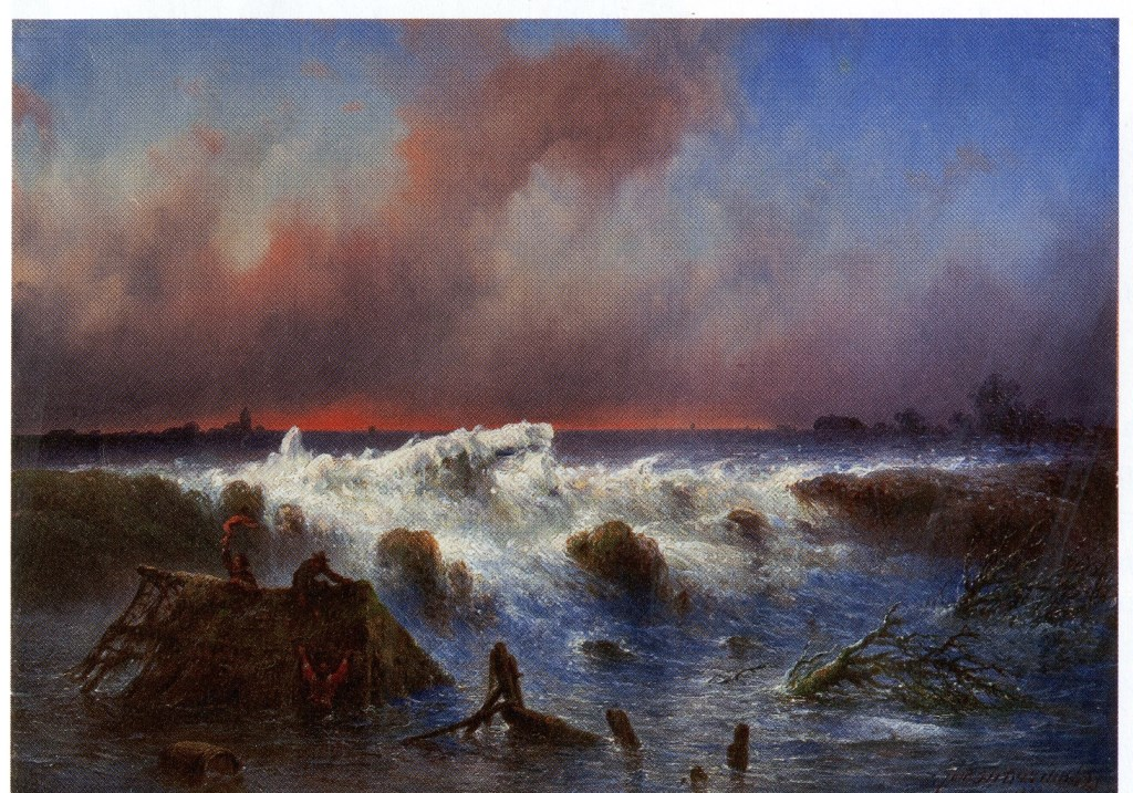 Een vrije weergave van de doorbraak in de Grebbedijk bij Wageningen door J. Hilverdink. Dit paneeltje werd aan Museum Casteelse Poort in Wageningen aangeboden maar omdat deskundigen twijfelden aan de locatie, werd van koop afgezien.  © DPG Media