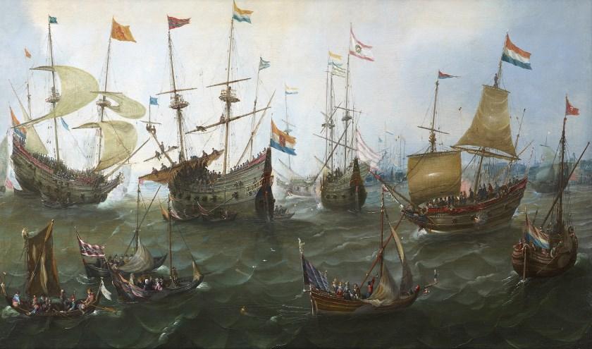 Het doek 'De terugkeer naar Amsterdam van de Tweede Expeditie naar Oost-Indië'uit ongeveer 1610.