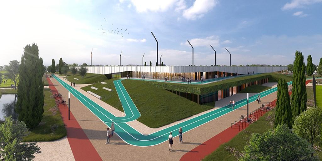 Het voorlopige ontwerp van Sportcampus de Braak. Foto: MoederscheimMoonen Architects,+ FaulknerBrowns Architects,+ CULD  © DPG Media