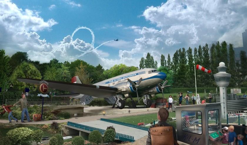 Artist impression van de locatie van The Flying Dutchman. De zesde attractie van Madurodam komt in het hart van het park te liggen. De neus van de kist steekt boven miniatuur Schiphol uit.