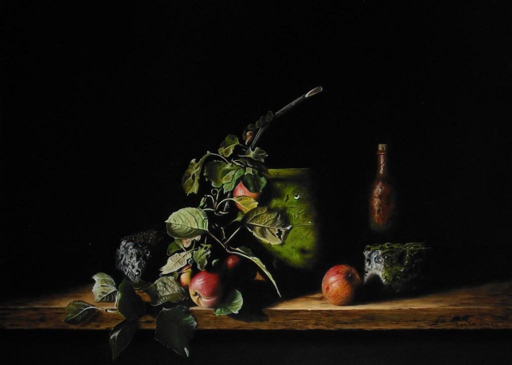 Jan Teunissen schildert gebruiksvoorwerpen en etenswaar zoals brood en fruit.   © Groeiend Best