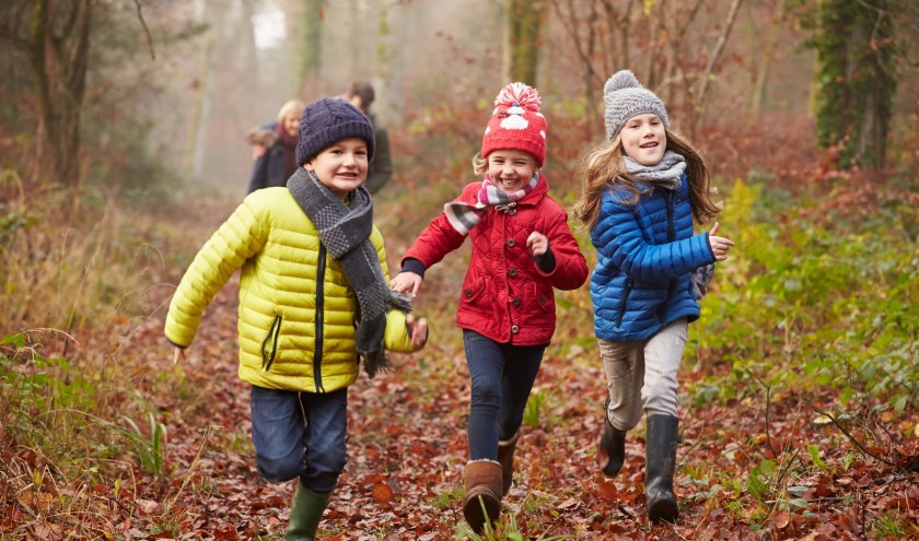 Kinderen op zoek naar vogels en pootafdrukken van reeën en zwijnen. (foto: Geldersch Landschap en Kasteelen)