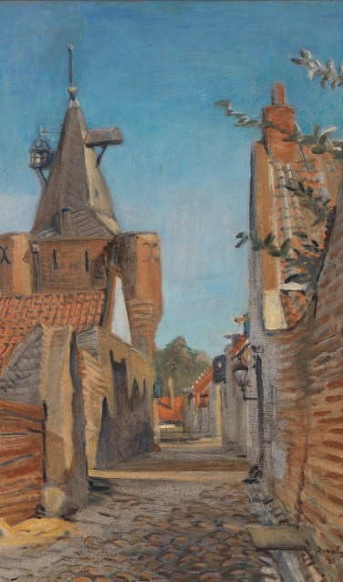 'Straatje in Elburg' (1935). Olieverf op doek (72 x 53 cm) van Ima van Eysinga, . Collectie Noord-Veluws Museum. (Foto: Rik Klein Gotink)