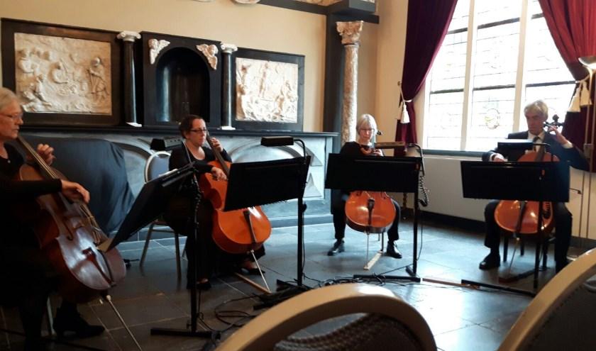 Het Cellokwartet Wiriavier, zondag 23 februari te beluisteren in de Immanuelkerk.