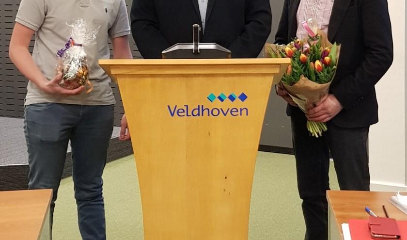 V.l.n.r.: Jeremy Richters (leerling), Wim Groenendijk (voorzitter) en Mark van der Heijden (docent).