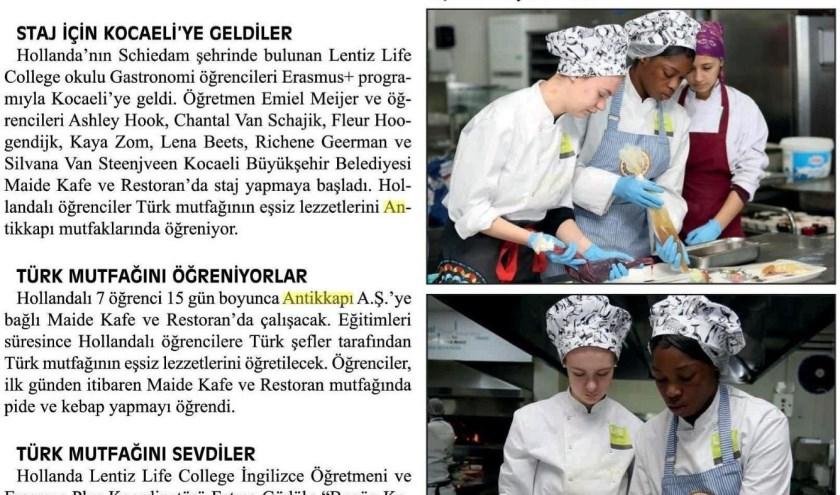 Studenten van het LIFE College staan in de Turkse krant.