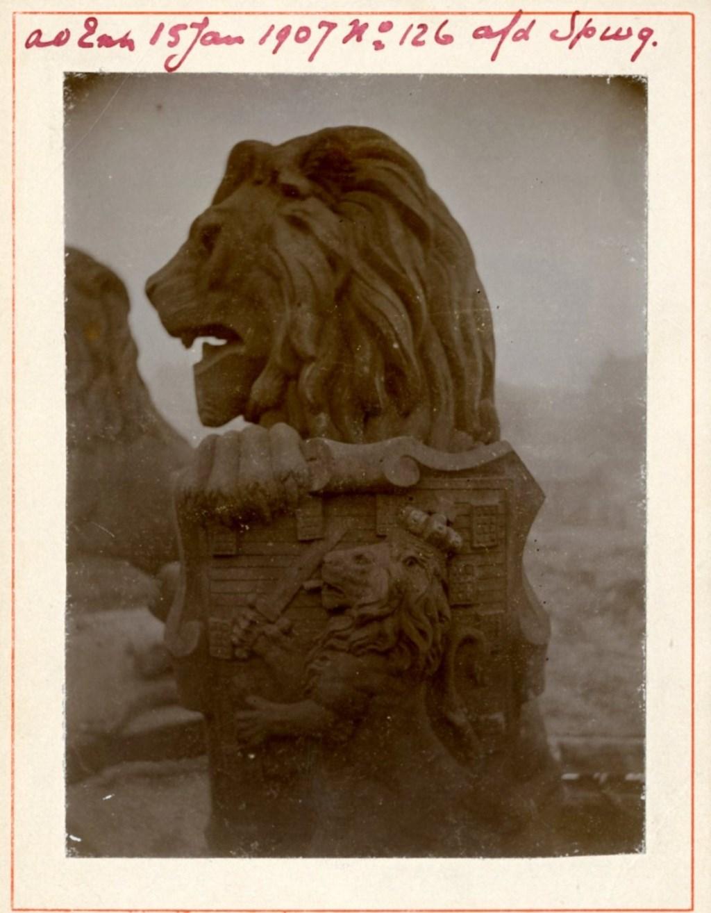 1907, een Amsterdamse Leeuw in afwachting van zijn vertrek naar Vlissingen.