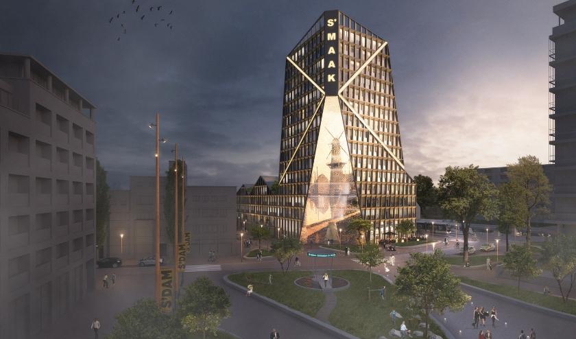 Bijgaande impressie toont S'Maak, het iconische gebouw dat zal worden ontwikkeld op de Kop van de Singel.