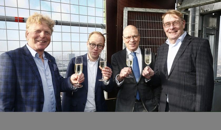 V.l.n.r. Cor Jansen (Utrecht Marketing), wethouder Eelco Eerenberg, Boudewijn van Uden (a.s.r.) en Olav Rosenberg. (Foto: Ruud Voest)