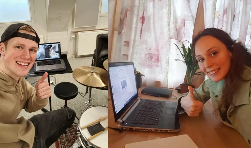 Via Skype, Facetime en WhatsApp video zorgen de docenten dat de muzieklessen van de leerlingen door kunnen gaan.