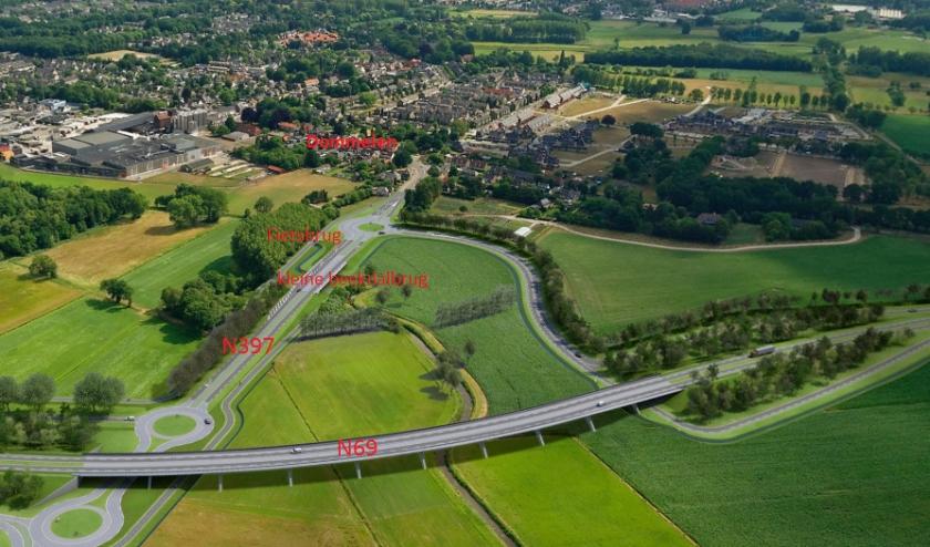 Een illustratie van de nieuwe beekdalbrug over de Keersop. FOTO: Provincie Noord-Brabant.