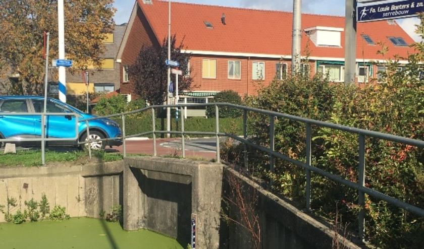 Het uiteinde van de ondergrondse watergang (duiker) bij de Herenstraat/Heulweg te Wateringen