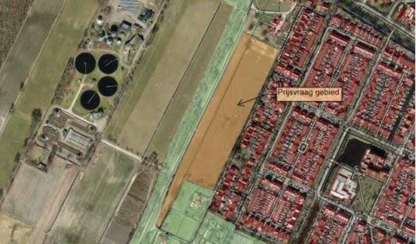<p>Beoogde locatie Turfweide net naast de Slaperdijk, voorheen Gilbertgaard. De vier rondingen links zijn van de waterzuiveringsinstallatie aan de andere kant van de Slaperdijk, op grondgebied van de gemeente Utrechtse Heuvelrug.&nbsp;</p>