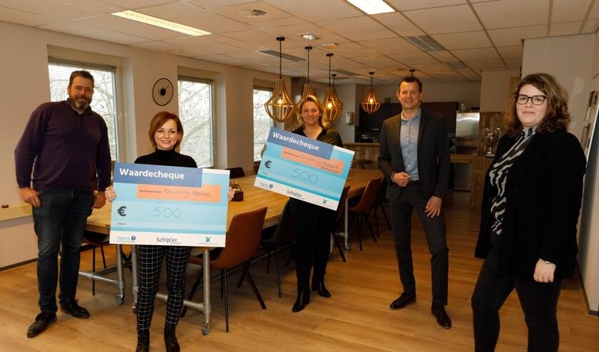 <p>Joeri Zoon (Manager Sigma Personeelsdiensten), Marlieke de Steur (van St. Hanne), Ingrid Heikamp (st. Present), Ronald Dekker (commercieel manager Schipper Accountants) en Lieke Scheele (klantadviseur)</p>