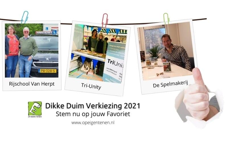 De drie genomineerden voor de Dikke Duim 2021