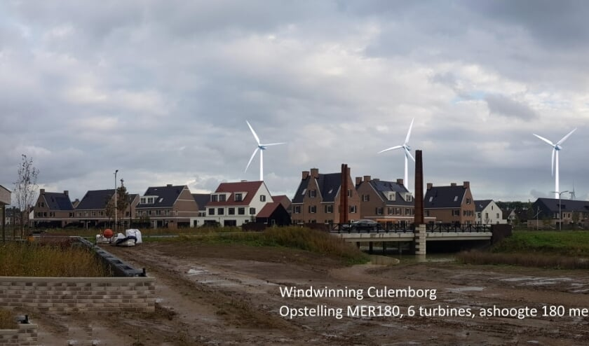 <p>Zes windmolens, 270 meter hoog, gemonteerd in foto vanaf Kees van Lintstraat in Culemborg.</p>