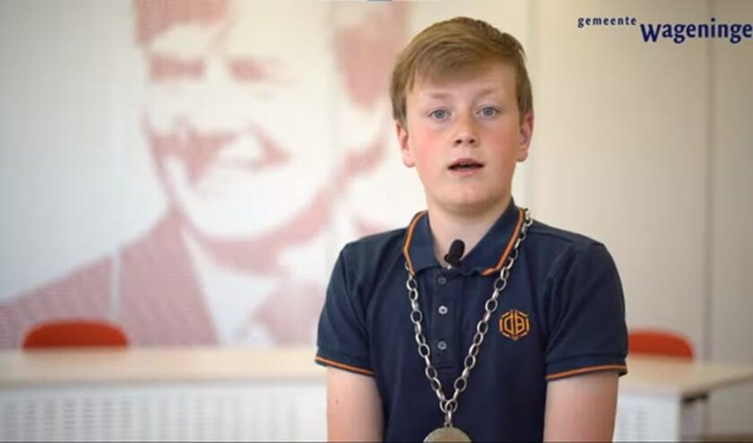 Kinderburgemeester Mats van Leersum roept kinderen op om zijn opvolger te worden.