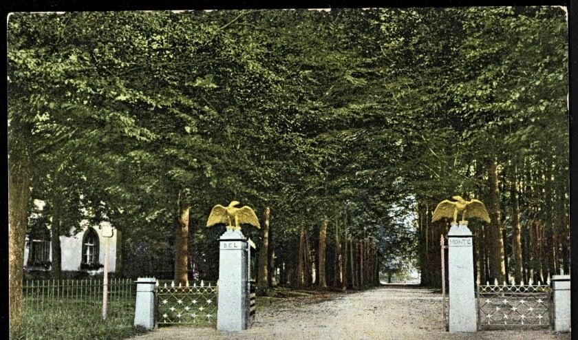 <p>De ingang van het vroegere landgoed Belmonte net de oude adelaars (foto archief)</p>