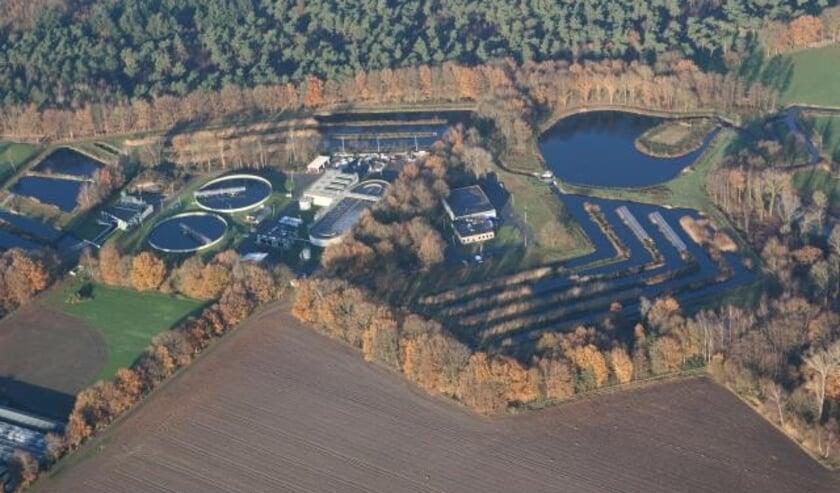 <p>Luchtfoto waterzuivering Soerendonk. Foto: Met dank aan Waterschap De Dommel.</p>