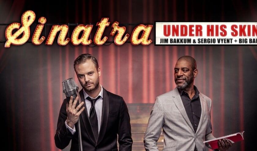 <p>Jim Bakkum en Sergio Vyent in de voorstelling &#39;Under his Skin&#39; over Frank Sinatra.</p>