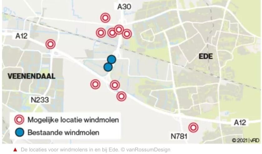 <p>Op een overzichtskaart is duidelijk te zien hoe dicht de molens bij Veenendaal staan.</p>