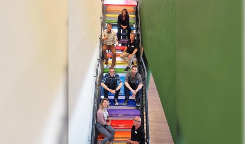 <p>Deze regenboogtrap werd door deelnemers van het ontwikkeltraject in Heyhoef gerealiseerd. </p>