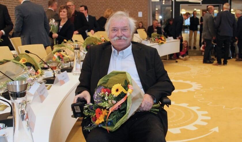 <p>Anton Reebergen bij de installatie van de nieuwe Duivense gemeenteraad in 2018. Hij was toen al ziek.</p>
