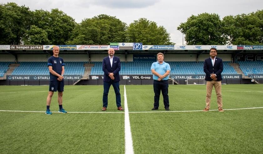<p>V.l.n.r.: Pascal Maas (hoofd jeugdopleiding), G&uuml;nther Peeters (Algemeen Directeur van de BVO), John Veraart (secretaris FC Eindhoven AV) en Anil Badloe (algemeen directeur futsal).<br><br><br></p>