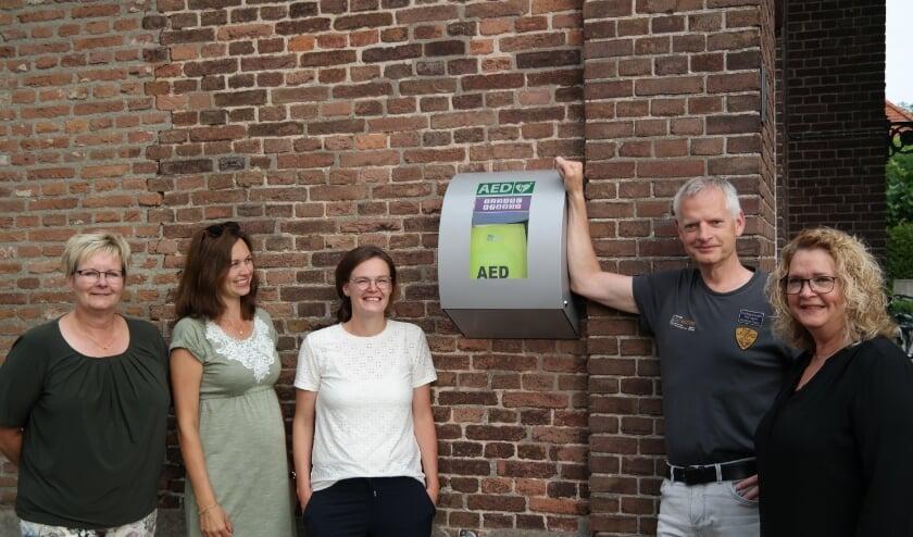 <p>Mich&egrave;le Wezendonk, Linda Boonstra-Sommers, Sjoukje Moesker, Arno Benning. Diana Wezendonk bij de nieuwe AED. Deze hangt op dezelfde plek als de oude AED (Dorpsplein in Pannerden).&nbsp;</p>